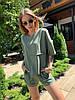 Льняной летний костюм с шортами и футболкой 17mko934