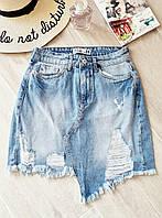Асимметричная женская джинсовая юбка с потертостями 79mju415, фото 1