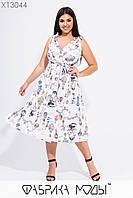 Літній принтована сукня без рукавав у великих розмірах з розкльошеною спідницею 1mbr716