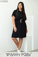Літнє спортивне плаття у великих розмірах з капюшоном і куліскою на талії 1mbr718