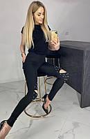 Лосины женские летние с разрезами и жемчугом, летние черные леггинсы Необыкновенные 56973, фото 1