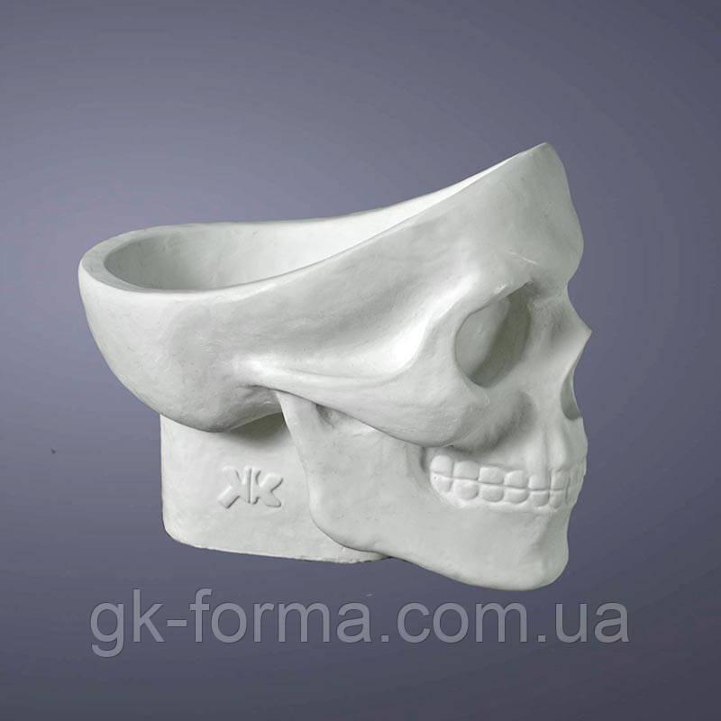 Гипсовый череп с отверстием. Подставка или пепельница (конфетница, визитница,ключница) для раскрашивания