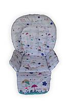 Чехол DavLu на стульчик для кормления Capella, Bambi зонтики на белом (Ch-338), фото 1