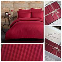 Евро постельное белье страйп-сатин полосы марсала бордо подарочная упаковка
