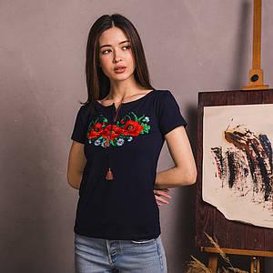 Женская синяя футболка с вышивкой Маковое Поле