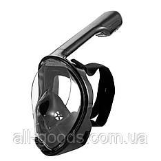 Полнолицевые панорамные очки для плавания FREE BREATH (S/M) M2068G с креплением для камеры Черный