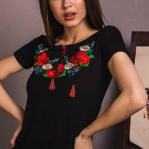 Трикотажная женская черная вышиванка Утренняя Роса