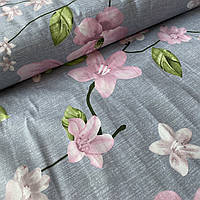 Ткань с крупными розовыми цветами на сером, ширина 220 см, фото 1