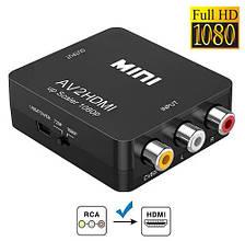 RCA AV - HDMI конвертер відео, аудіо, FullHD 1080p, чорний