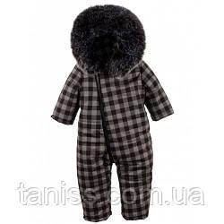 Детский теплый комбинезон Ромпер, зима-весна, двойной, мех иск, рост 74,80,86 серая клетка