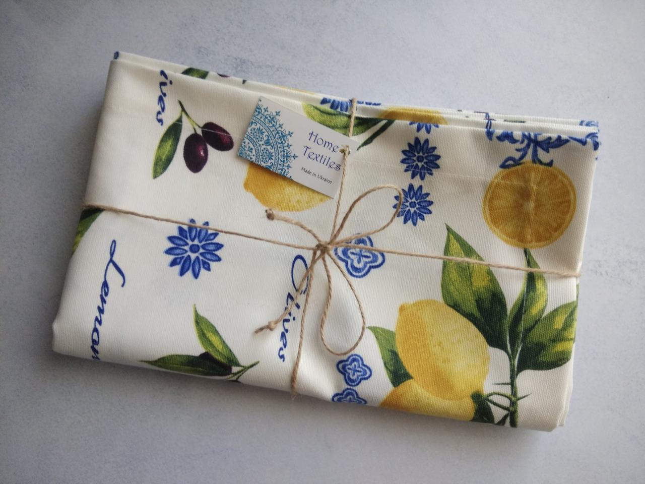 Скатерть тефлоновая с лимонами. Пошив под заказ