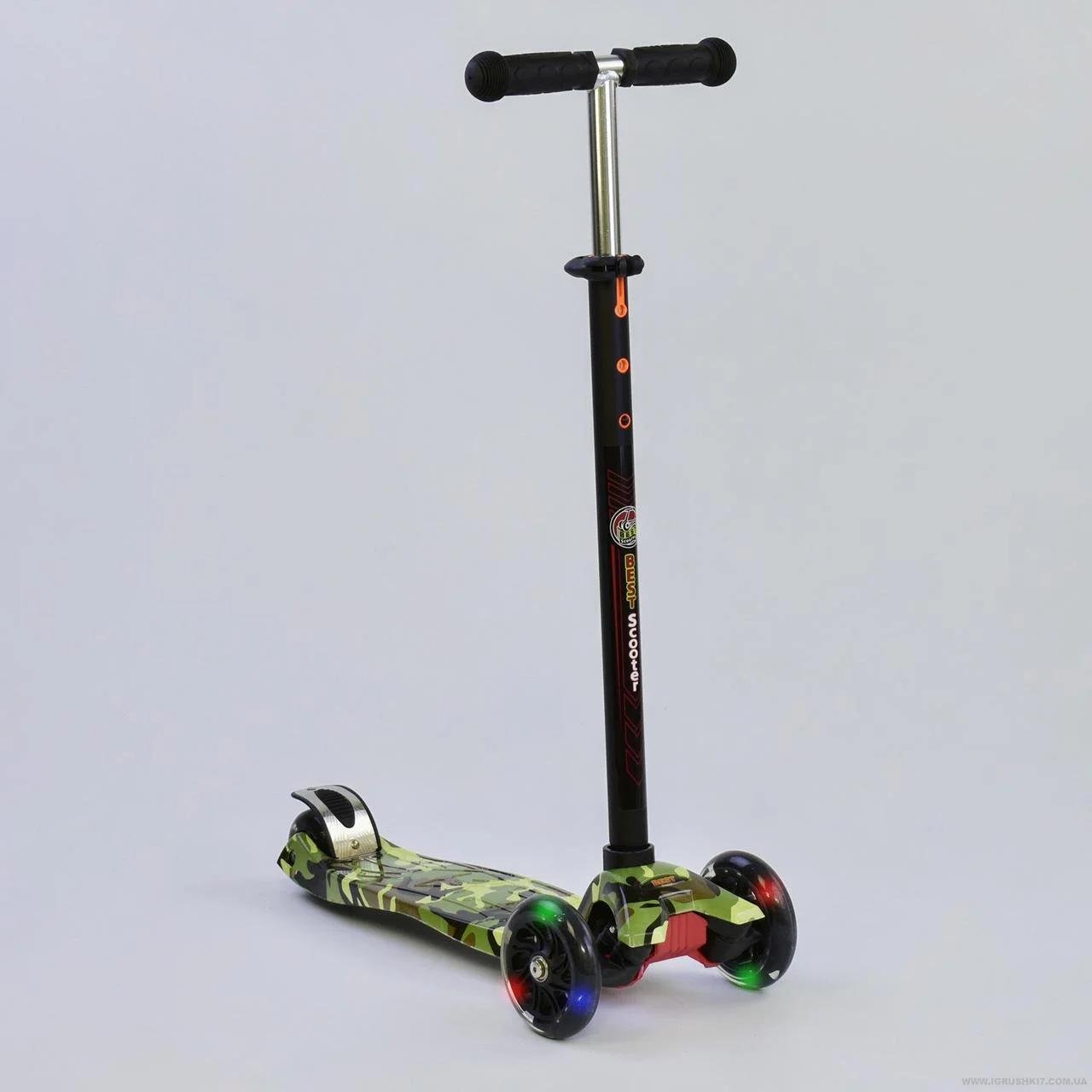 """Самокат А 25468/779-1323 MAXI """"Best Scooter"""",пластмассовый, 4 колеса PU, свет, трубка руля алюминиевая"""