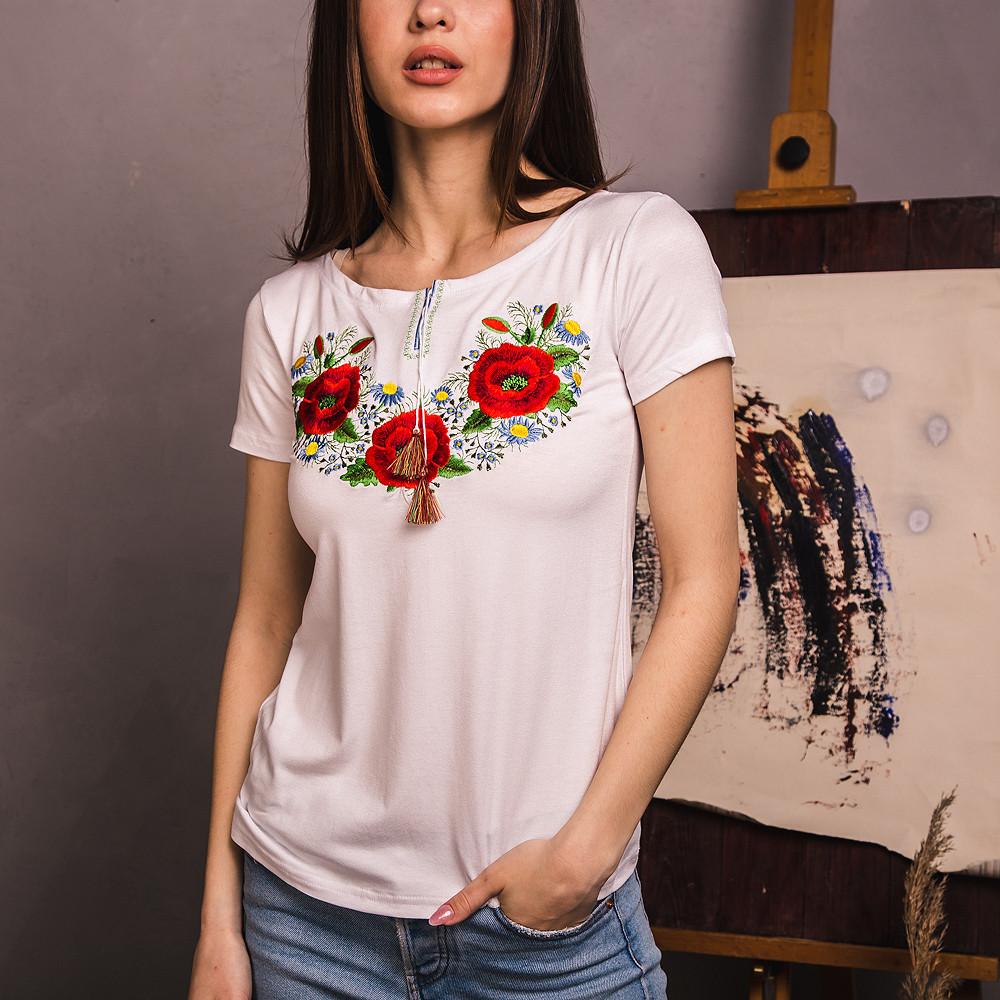 Біла вишита футболка Маковий Цвіт