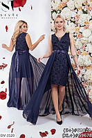 Нарядное платье флок с блестками со съемной юбкой Размер: 48-50, 50-52 Арт: 360