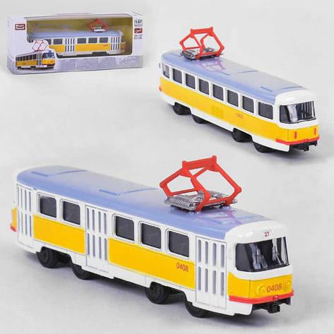 JT Трамвай металлопластик 6411 В (96/4) инерция, в коробке, фото 2