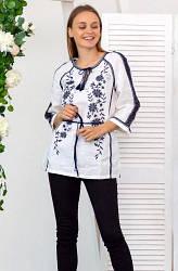 Удлиненная  женская блузка на  домотканном полотне Катерина