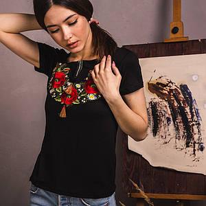 Черная вышитая футболка Маковый Цвет
