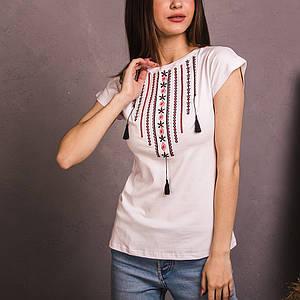 Белая вышитая футболка Ожерелье