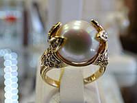 Золотое кольцо с жемчугом, фото 1