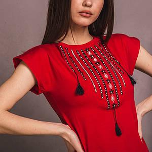 Красная вышитая футболка Ожерелье