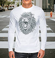 Белая футболка-лонгслив  с принтом Лев / Современный европейский размер XS - ширина 48 см / На средний рост