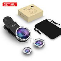 Набор линз для смартфона 3 в 1 Macro, Wide-angle, Fisheye lens Серебристый