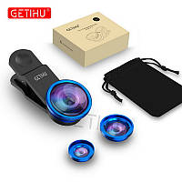 Набор линз для смартфона 3 в 1 Macro, Wide-angle, Fisheye lens Синий
