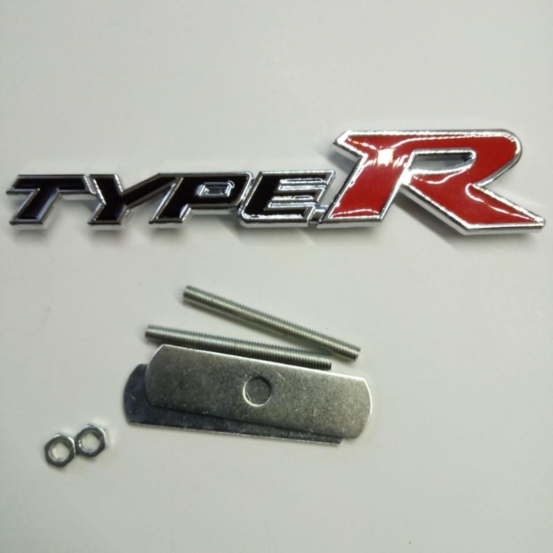 Шильдик надпись Type R (черный) на решетку радиатора