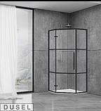 Душевая кабина Dusel DL197HBP Black Matt Paint, 90х90х190, пятиугольная, профиль черный, стекло прозрачное, фото 2