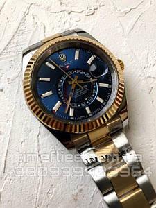 Часы Rolex Sky-Dweller Gold Blue Combined Brace AAA Copy