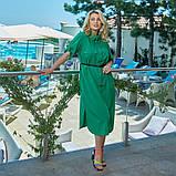 Легкое и яркое платье рубашечного кроя с воротничком под поясок, 4 цвета   р-р 50-52,54-56,58-60,62-64 Код 66Е, фото 5