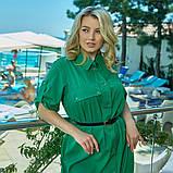 Легкое и яркое платье рубашечного кроя с воротничком под поясок, 4 цвета   р-р 50-52,54-56,58-60,62-64 Код 66Е, фото 6