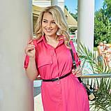 Легкое и яркое платье рубашечного кроя с воротничком под поясок, 4 цвета   р-р 50-52,54-56,58-60,62-64 Код 66Е, фото 8
