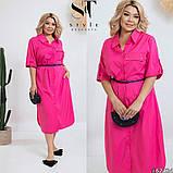 Легкое и яркое платье рубашечного кроя с воротничком под поясок, 4 цвета   р-р 50-52,54-56,58-60,62-64 Код 66Е, фото 3