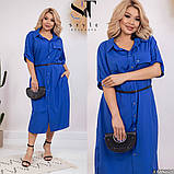 Легкое и яркое платье рубашечного кроя с воротничком под поясок, 4 цвета   р-р 50-52,54-56,58-60,62-64 Код 66Е, фото 4