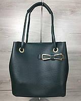 Женская сумка 2в1 Молодежная Бантик зеленого цвета, фото 1