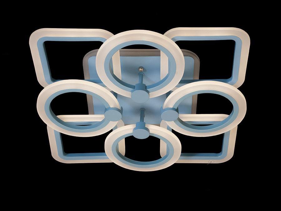 Потолочная LED-люстра с диммером и подсветкой до 20 кв. цвет голубой 100W Diasha&A3307/4+4BL LED 3color dimmer