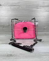 Cумка «Селена» силиконовая с розовой неоновой косметичкой, фото 1