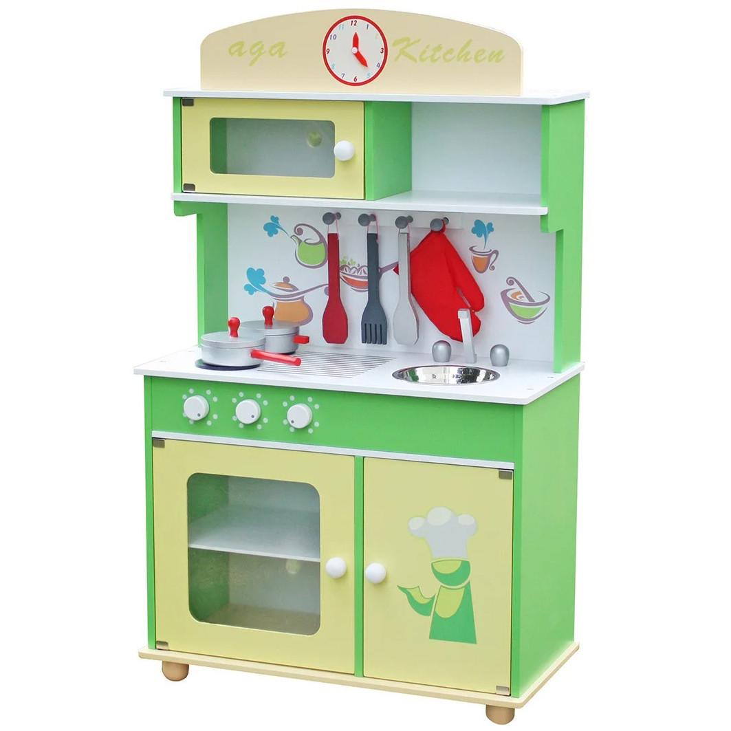 Детская игровая деревянная кухня Wooden Toys Frogi + набор посуды для детей