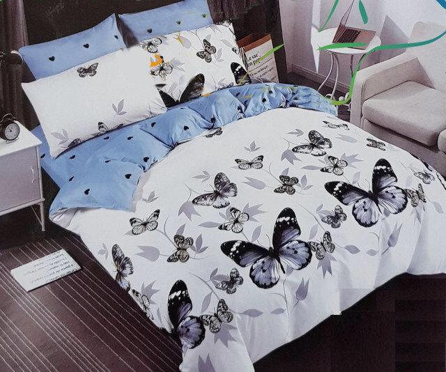 Комплект постельного белья полуторный Бязь GOLD 100% хлопок Бабочки