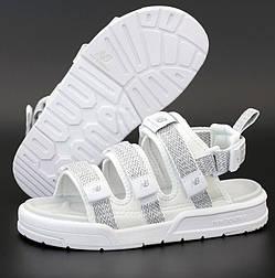 Женские сандалии New Balance Sandal летние белые рефлективные. Живое фото. Топ качество. (Реплика ААА+)