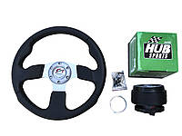 Руль на Москвич 2141 в комплекте с адаптером (переходником под руль) Спорт руль с кнопкой сигнала.