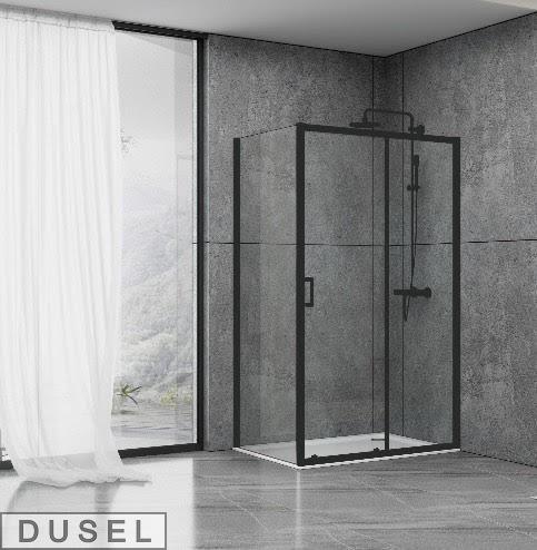 Душевая кабина Dusel EF185B/EF181 Black Matt, 120х90х190, дверь раздвижная, профиль черный, стекло прозрачное