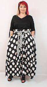 Турецкий женский костюм с юбкой в горох, большие размеры 50-58
