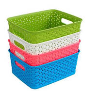 Пластиковая универсальная корзина для хранения вещей и мелочей (корзинка для дома)