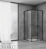 Душевая кабина Dusel EF184 Black Matt, 100х100х190, двери раздвижные, профиль черный, стекло прозрачное, фото 2