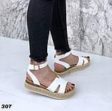 Босоножки на плетенной подошве с ремешком, платформа 5 см, черные, бежевые, белые, фото 6