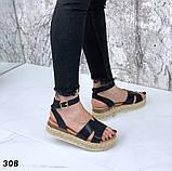Босоножки на плетенной подошве с ремешком, платформа 5 см, черные, бежевые, белые, фото 2