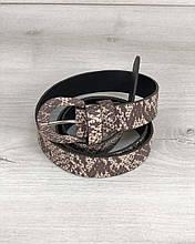 Ремень пояс женский модный для платья, джинсов, брюк Кофейная змея, стильный женский ремень красивый кожзам