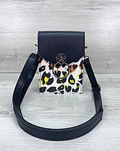 Сумка клатч через плечо женская Gina черно-белый леопард, маленькая сумочка на длинном ремешке